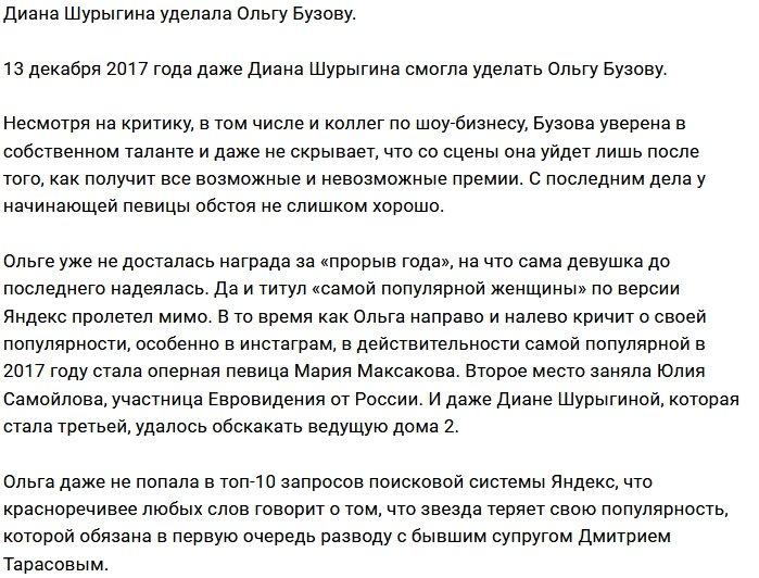 Диана Шурыгина оказалась популярнее Ольги Бузовой